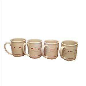 LONGABERGER Pottery Set of 4 Coffee Mugs